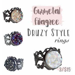 3 for 15🎀 Faux druzy Gunmetal filagree rings